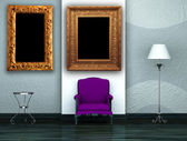 Purple chair with table, stand lamp and picture frames in modern interior — Stock Photo
