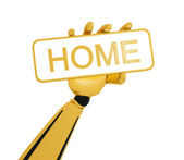 """Gold robotic hand hold a plate with word """"home"""". — Photo"""