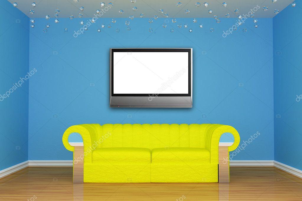 Blu soggiorno minimalista con divano giallo e lcd tv for Soggiorno minimalista