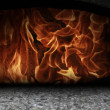 Stone floor with fire and flames — Stock Photo