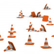 Stock Photo: 3d traffic cones