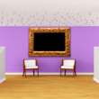 Gallery's hall with luxurious chairs - ストック写真