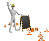 3d construction worker with traffic cones and empty board — Stok fotoğraf