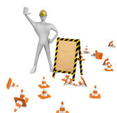 3d construction worker with traffic cones and empty board — Stock Photo