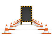 Under construction. wooden board with traffic cones. — Stock Photo