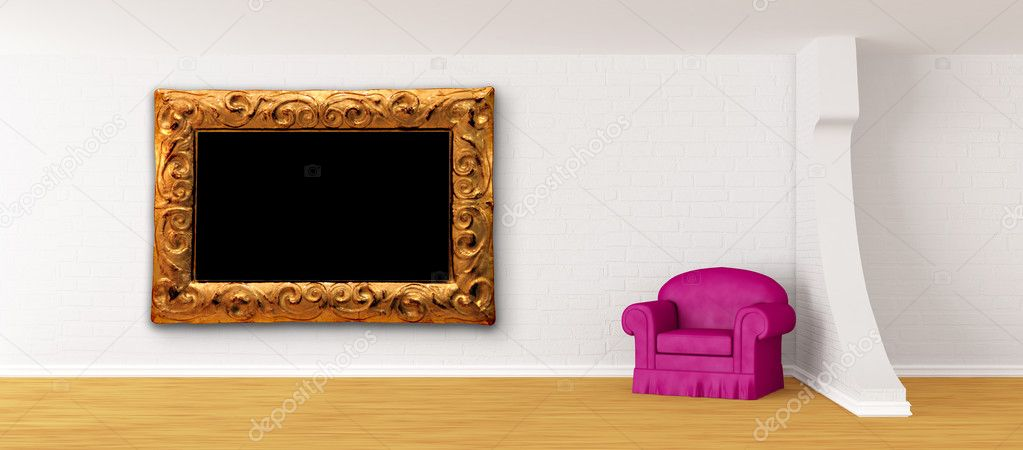 Purple armchair with modern frame in modern minimalist interior  — Stock Photo #6252107