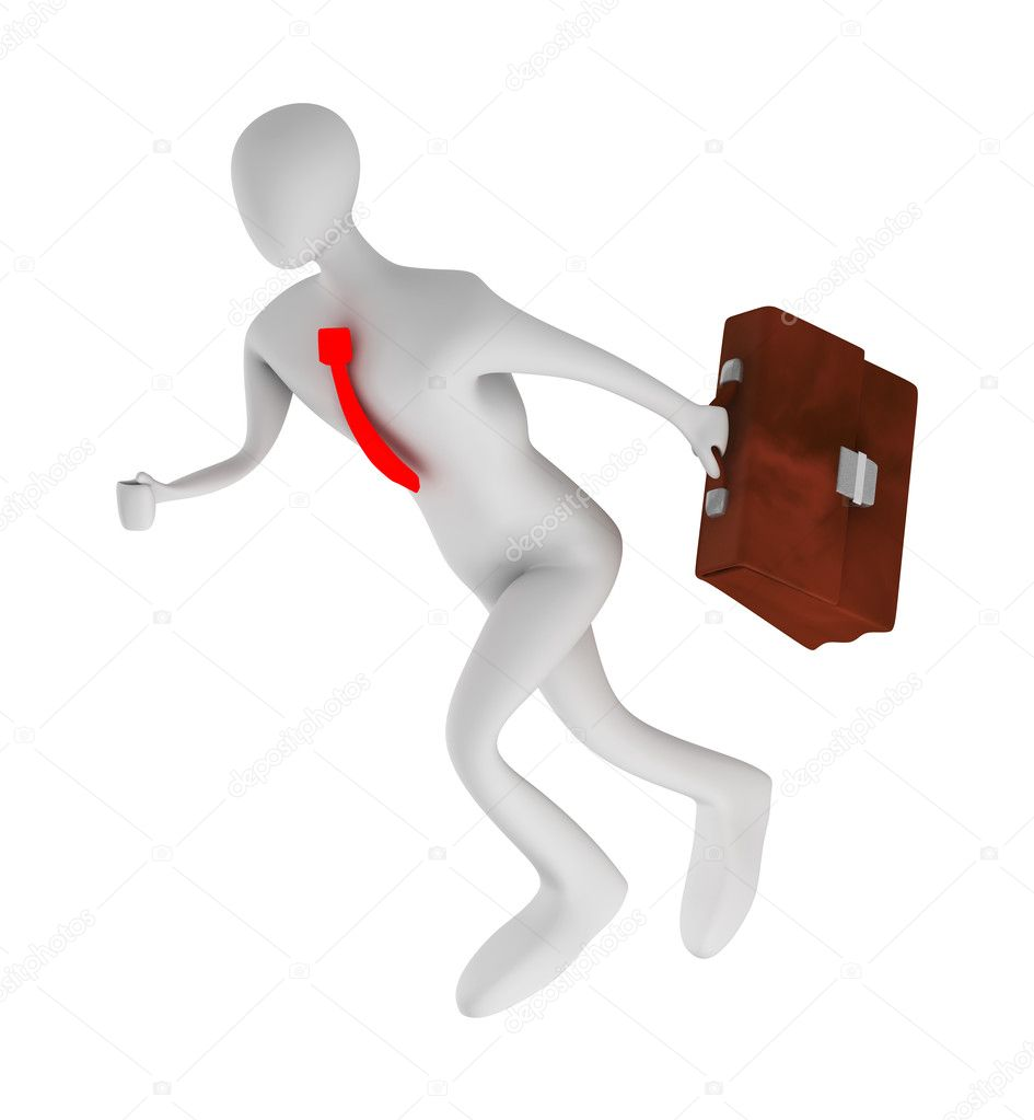 3d  businessman running with briefcase isolated on white — Stock Photo #6252289