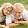 Old couple in a park — Stock Photo