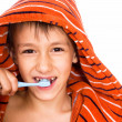 Handsome boy brushing his teeth — Foto Stock