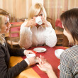 Girls chatting at tea — Stock Photo