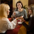 Beautiful girls chatting at tea — Stock Photo #5442026