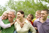 Large family in the summer park — Stock Photo