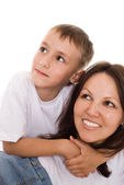 Mother with her child on a white — Stock Photo