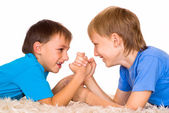 Nice brothers on a white — Stock Photo