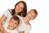 Mom with two boys — Stock Photo
