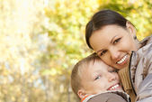 Mom and son walking — Stock Photo