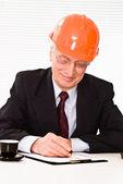Old builder in the helmet — Stock Photo