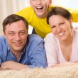 Stock Photo: Happy family three