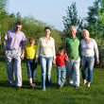 Happy family of six — Stock Photo
