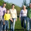 Family of six on the nature — Stock Photo