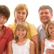 Family of five on a light — Stock Photo