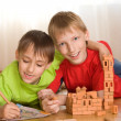 Stock Photo: Brothers are building of toy castle