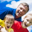 Happy boys with dad — Stock Photo