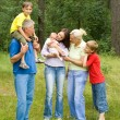 Family of six on the nature — Stock Photo #5511538