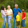 Family of six on the nature — Stock Photo #5511549