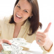 Young woman with the money — Stock Photo