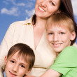 Young mother with  children — Stock Photo