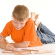 Boy lying and draw — Stock Photo #5512681