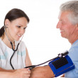 Doctor it measures the pressure — Stock Photo