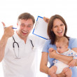 Doctor and a woman with a newborn — Stock Photo