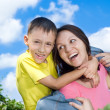 Happy woman and son — Foto Stock