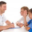 Stock Photo: Two brothers in doctors office