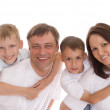 Portrait of happy famaly on white — Stock Photo #5516594