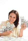 Happy woman with the mone — Stock Photo