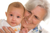 Elderly woman and newborn — Foto Stock