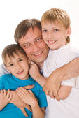 Happy dad with children — Stock Photo