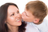 Glad mamma med sitt barn — Stockfoto