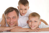 Father with his two sons — Stock Photo
