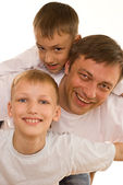 Young father with his two sons — Stock Photo