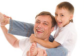 Happy father and son on a white — Stock Photo