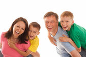 Family on a white background — Stock Photo