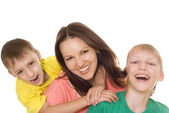 Happy mom with children — Stock Photo