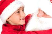 Santa z ładne dziecko — Zdjęcie stockowe