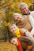 Family of four on the nature — Stock Photo