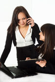 Girls in a black business suit — Stock Photo