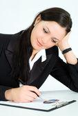 Chica agradable trabajar en la oficina — Foto de Stock
